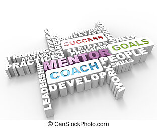concepto, palabra, mentor, 3d