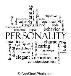 concepto, palabra, negro, nube blanca, personalidad