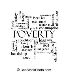 concepto, palabra, negro, pobreza, nube blanca