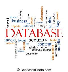 concepto, palabra, nube, base de datos