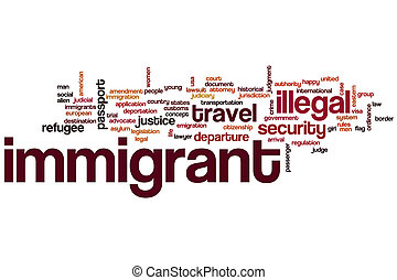 concepto, palabra, nube, inmigrante