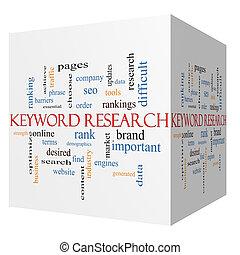 concepto, palabra, palabra clave, investigación, cubo, nube, 3d