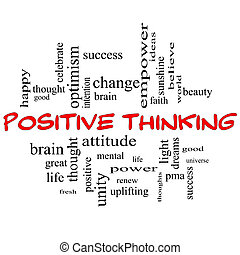 concepto, palabra, pensamiento, positivo, tapas, nube, rojo