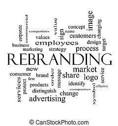 concepto, palabra, rebranding, negro, nube blanca