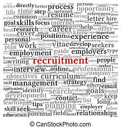 concepto, palabra, reclutamiento, etiqueta, plano de fondo, nube blanca