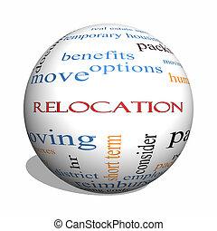 concepto, palabra, recolocación, esfera, nube, 3d