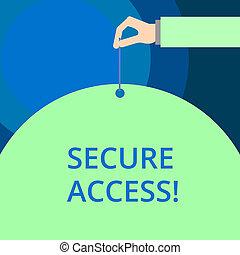concepto, palabra, seguro, empresa / negocio, texto, access., escritura, cryptography, aumentar, seguridad, perforanalysisce, devices.