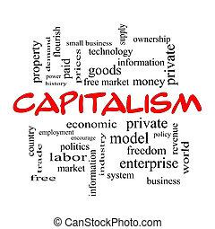 concepto, palabra, tapas, nube, capitalismo, rojo
