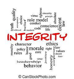 concepto, palabra, tapas, nube, integridad, rojo
