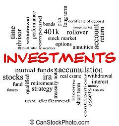 concepto, palabra, tapas, nube, inversiones, rojo