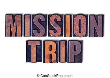 concepto, palabra, texto impreso, aislado, misión, viaje