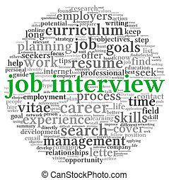 concepto, palabra, trabajo, etiqueta, entrevista, nube