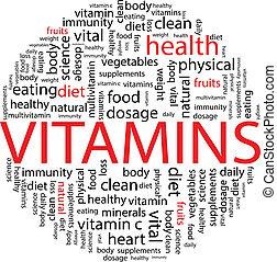 concepto, palabra, vitaminas, nube, píldora