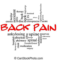concepto, palabra, y, espalda, nube negra, dolor, rojo