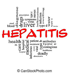 concepto, palabra, y, hepatitis, negro rojo, nube