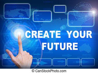 concepto, pantalla, tacto, futuro, digital, interfaz, crear...