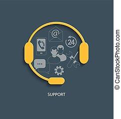 concepto, para, ayuda al cliente, service.