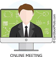 concepto, para, reunión en línea