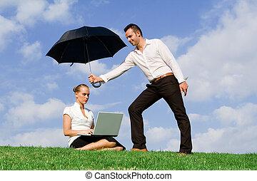 concepto, para, seguro negocio, protección