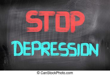 concepto, parada, depresión