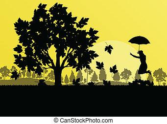 concepto, paraguas, hojas, árbol, otoño, vector, arce, plano de fondo, niña, paisaje
