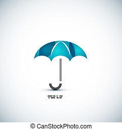 concepto, paraguas, protección, icono