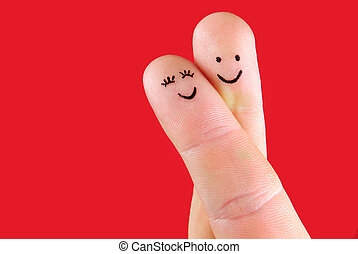 concepto, pareja,  -, dedos, aislado, mujer, Plano de fondo, Abrazo, pintado, hombre, rojo, feliz