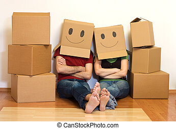 concepto, pareja, su, nuevo hogar, feliz