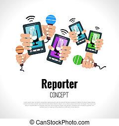 concepto, periodista, reportero