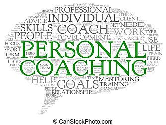 concepto, personal, aislado, relacionado, entrenamiento, etiqueta, palabras, nube blanca