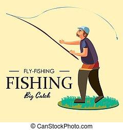 concepto, pez, barra, botas, crocheted, pesca, posición, ...