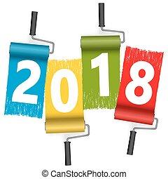 concepto, pintura, 2018, año, nuevo, rodillo