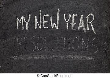 concepto, pizarra, -, el olvidarse, año, nuevo, resolutions