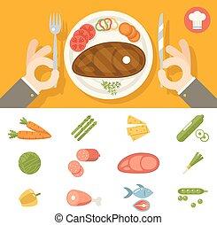 concepto, placa, conjunto, restaurante, alimento, símbolo, cubiertos, plano, vector, diseño, ilustración, plano de fondo, manos, elegante, promoción, icono