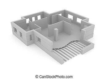 concepto, plan, arquitectónico, 3d