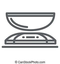 concepto, plano de fondo, cocina, símbolo, peso, design., móvil, icono, línea, vector, escala, blanco, tela, estilo, escalas, contorno, concepto, aparatos, graphics., icono