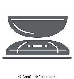 concepto, plano de fondo, cocina, símbolo, peso, design., móvil, icono, vector, escala, blanco, tela, estilo, escalas, glyph, concepto, sólido, aparatos, graphics., icono