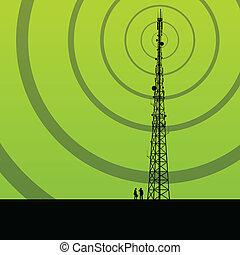 concepto, plano de fondo, móvil, telecomunicaciones, teléfono, vector, radio, base, estación, torre, o