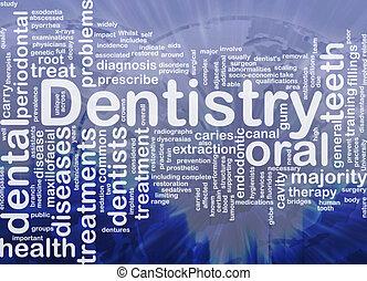 concepto, plano de fondo, odontología