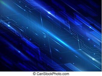 concepto, plano de fondo, resumen, líneas, circuito, geométrico, tecnología, futurista