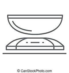 concepto, plano de fondo, símbolo, cocina, peso, design., móvil, icono, línea, vector, escala, blanco, delgado, tela, estilo, escalas, contorno, concepto, aparatos, graphics., icono