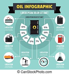 concepto, plano, estilo, infographic, aceite