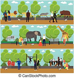 concepto, plano, estilo, zoopark, animales, familia , gente...