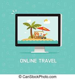 concepto, plano, vía, computadora, clipart, naturaleza, viaje, viaje, ilustración, vector, conectado, recurso, o, planificación, pc, en línea, pantalla, caricatura, playa, viaje, reservación