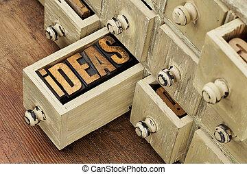 concepto, poniendo común, ideas, o