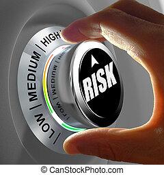 concepto, potencial, riesgo, botón, ajuste, minimizar, o