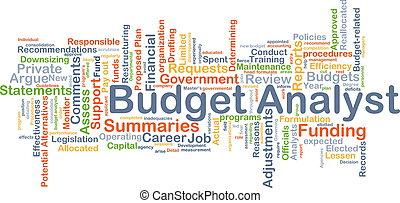 concepto, presupuesto, plano de fondo, analista
