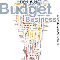 concepto, presupuesto, plano de fondo