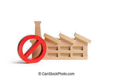 concepto, prohibición, area., ambientalmente, rojo, factory...