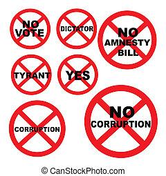concepto, prohibido, conjunto, democracia, señales
